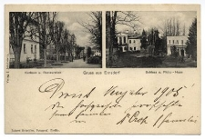 Gruss aus Ernsdorf. Kurhaus u. Restauration. Schloss u. Philip – Haus