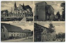 Gruss aus Tichau O.-S. – Gasthaus zum golden Stern. Kirche. Fürsten-Str. F. Zernik. Kaufhaus