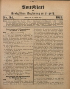 Amts-Blatt der Königlichen Regierung zu Liegnitz, 1913, Jg. 103, Nr. 34