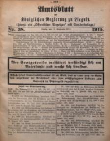 Amts-Blatt der Königlichen Regierung zu Liegnitz, 1915, Jg. 105, Nr. 38