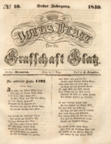 Volks-Blatt für die Grafschaft Glatz, 1840, Jg. 1, No. 10