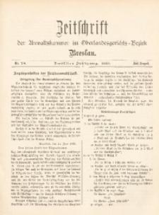 Zeitschrift der Anwaltskammer im Oberlandesgerichts-Bezirk Breslau, 1899, Jg. 12, Nr. 7/8