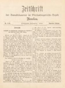 Zeitschrift der Anwaltskammer im Oberlandesgerichts-Bezirk Breslau, 1904, Jg. 17, Nr. 9/10
