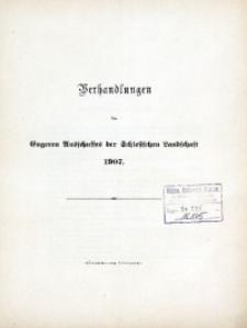 Verhandlungen des Engeren Ausschusses der Schlesischen Landschaft, 1907