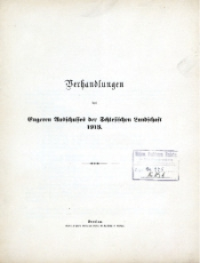 Verhandlungen des Engeren Ausschusses der Schlesischen Landschaft, 1913