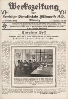 Werkszeitung der Vereinigte Oberschlesische Hüttenwerke A. G., Gleiwitz, 1933, Jg. 7, Nr. 22