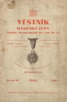 Věstník Hasičské Župy Okresu Brandýského na Labi, 1934, R. 3, Čís. 5