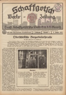 Schaffgotsch Werks-Zeitung, 1937, Jg. 5, Nr. 1