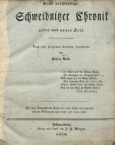 Erste Vollständige Schweidnitzer Chronik Alter und Neuer Zeit