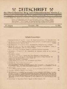 Zeitschrift des Oberschlesischen Berg- und Hüttenmännischen Vereins Z.z., 1928, Jg. 67, Heft 11