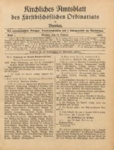 Kirchliches Amtsblatt des Fürstbischöflichen Ordinariats in Breslau, 1928, Stück 1