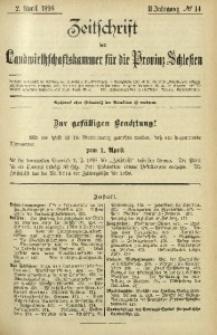 Zeitschrift der Landwirthschaftskammer für die Provinz Schlesien, 1898, Jg. 2, No. 14