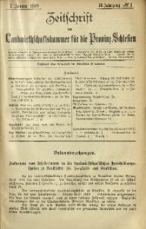 Zeitschrift der Landwirthschaftskammer für die Provinz Schlesien, 1899, Jg. 3, No. 1