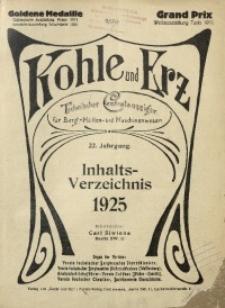 Kohle und Erz, 1925, Jg. 22, Verfasserverzeichnis, Sachverzeichnis
