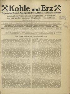 Kohle und Erz, 1925, Jg. 22, Nr. 1