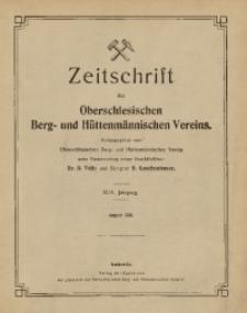 Zeitschrift des Oberschlesischen Berg- und Hüttenmännischen Vereins, 1910, Jg. 49, August