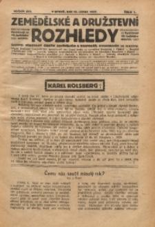 Zemědělské a Družstevní Rozhledy, 1921, R. 16, Čís. 1