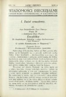 Wiadomości Diecezjalne, 1933, R. 8, nr 7-8