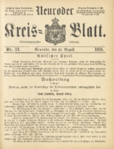 Neuroder Kreis-Blatt, 1881, Jg. 27, Nr. 32