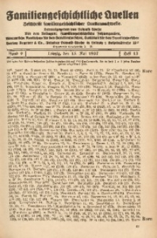 Familiengeschichtliche Quellen, 1937/1939, Bd. 9, H. 13 (Bore-Brand)