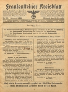 Frankensteiner Kreisblatt, 1938, Nr. 99