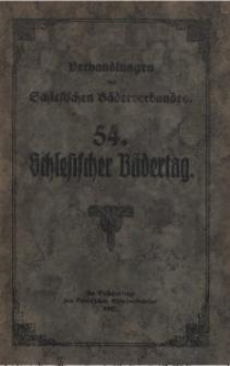 Verhandlungen des 54. Schlesischen Bädertages 1927