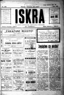 Iskra. Dziennik polityczny, społeczny i literacki, 1922, R. 13, nr 249
