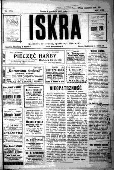 Iskra. Dziennik polityczny, społeczny i literacki, 1922, R. 13, nr 274