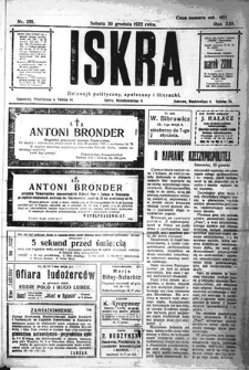 Iskra. Dziennik polityczny, społeczny i literacki, 1922, R. 13, nr 291