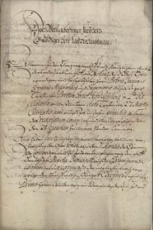 Relacja władz miasta Cieszyna dla starosty ziemskiego księstwa cieszyńskiego barona Jana Fryderyka Larysza z Ligoty (odebrano 9.04.1679) na temat realizacji poleceń skierowanych przeciwko protestantom, m.in. pozbawienia ich szarż oficerskich w straży miejskiej