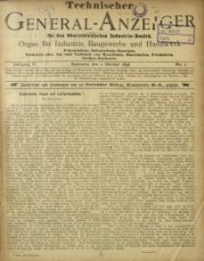 Technischer General-Anzeiger für den Oberschlesischen Industrie-Bezirk, 1898/1899, Jg. 5, No. 1
