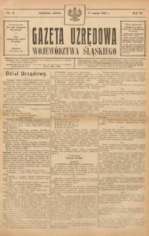 Gazeta Urzędowa Województwa Śląskiego, 1925, R. 4, nr 9