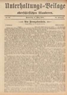 Unterhaltungs-Beilage zum Oberschlesischen Wanderer, 1909, Jg. 82, Nr. 57