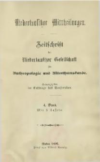 Niederlausitzer Mittheilungen, 1895/1896, Bd. 4, Inhalt
