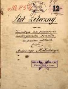 List żelazny. Trajedya na podaniu historycznem osnuta, w pięciu aktach przez Antoniego Małeckiego