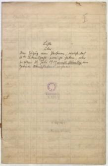 Liste über den Zuzug von Personen welche das 16te Lebensjahr erreicht haben aber seit dem 31. Juli 1919 nicht ständig im Gebiete Oberschlesiens wohnen
