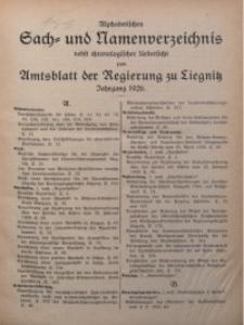 Alphabetisches Sach- und Namenverzeichnis nebst chronologische Übersicht zum Amtsblatt der Regierung zu Liegnitz, Jg. 1926