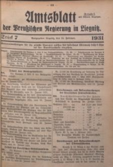 Amtsblatt der Preußischen Regierung in Liegnitz, 1931, Jg. 121, Nr. 7