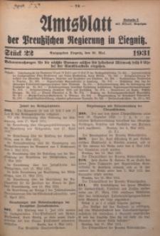 Amtsblatt der Preußischen Regierung in Liegnitz, 1931, Jg. 121, Nr. 22