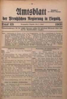 Amtsblatt der Preußischen Regierung in Liegnitz, 1931, Jg. 121, Nr. 23