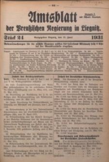 Amtsblatt der Preußischen Regierung in Liegnitz, 1931, Jg. 121, Nr. 24