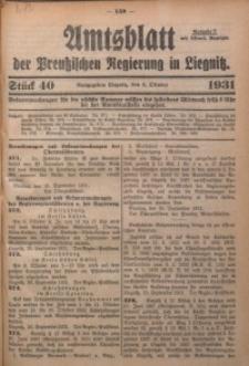 Amtsblatt der Preußischen Regierung in Liegnitz, 1931, Jg. 121, Nr. 40