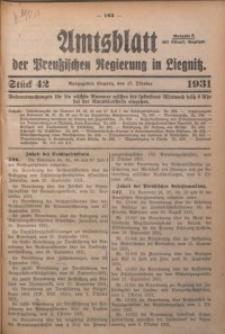 Amtsblatt der Preußischen Regierung in Liegnitz, 1931, Jg. 121, Nr. 42