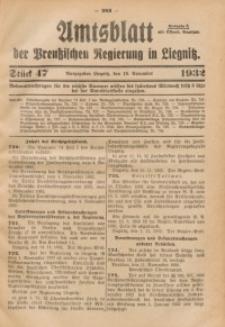 Amtsblatt der Preußischen Regierung in Liegnitz, 1932, Jg. 122, Nr. 47