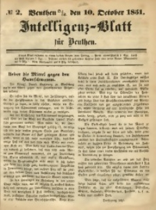 Intelligenz-Blatt für Beuthen, 1851, No. 2