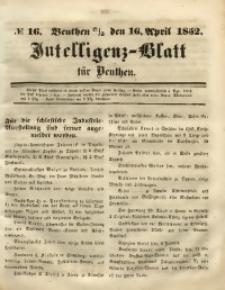 Intelligenz-Blatt für Beuthen, 1852, No. 16