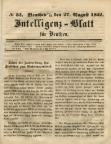 Intelligenz-Blatt für Beuthen, 1852, No. 35
