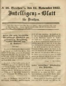 Intelligenz-Blatt für Beuthen, 1852, No. 46