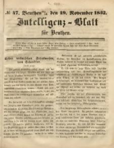 Intelligenz-Blatt für Beuthen, 1852, No. 47