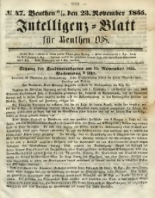 Intelligenz-Blatt für Beuthen O./S., 1855, No. 47